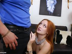 Redhead Eva lustfully takes big dick in ass and devil's hole