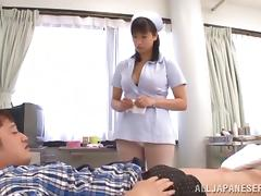 Stunning asian nurse with big tits Hana Haruna gives awesome tit fuck