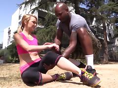 Skinny blonde Carmen Callaway jumps on a BBC after sucking it
