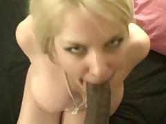 Mature blond wife sucks black dick