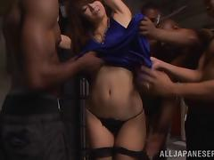 Interracial gangbang scene with Japanese milf Maki Hokujo