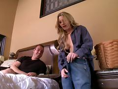 Naughty blonde cougar with a shaved pussy enjoying a hardcore fuck on her bed