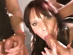 German slut Gia in wild interracial gang bang