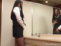 Asian babe Nachi Kurosawa rubs her big natural tits and gives a blowjob