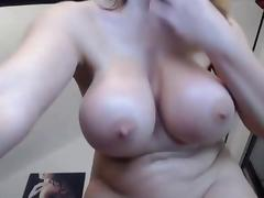 Clean shaven big breast Milf fucks ass with toy