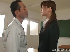 Japanese teacher Ichika Kanhata seduces a guy and fucks him