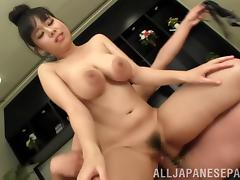 Shiori Tsukada gets a dick ride and cum on her tits in a hot fuck scene