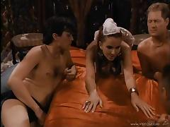 Multiple guys gangbang a chick in a wild, retro group fuck