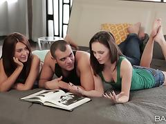 FFM threesome shows babes Alexis and Nataly satisfying a hunk's sexual desire