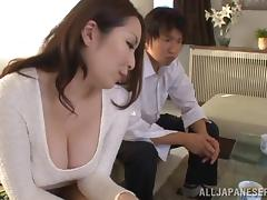 Brilliant Asian babes showcasing her big tits then giving her guy titjob