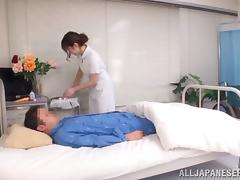 Helpful Asian nurse takes off her uniform and rides her patient's cock