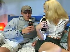Drunk college girl fucked by two guys