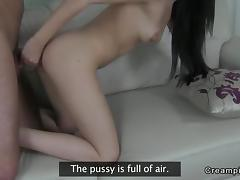 Cute amateur anal creampied on casting