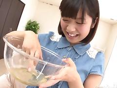 Japanese bitch drinks pee and gets a facial cumshot
