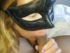 Masked Wife Rapid Blow Job Sex with Sex Cream Finish in Throat