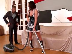Affectionate maid in uniform riding big black cock hardcore in reality shoot