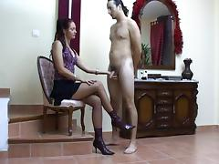 Delcia Deity Milks Her Sissy Slave All Of his Cum
