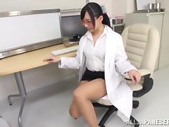 Japanese nurse with glassses enjoying a hardcore cowgirl style fuck