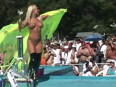 Naughty nude blonde amateur with long hair getting wild in public party outdoor