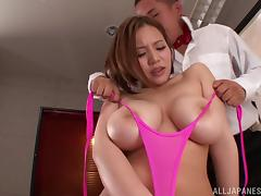 Ruri Sajo uses her big tits to make a lucky guy cum