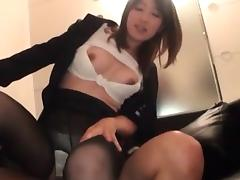 Fancy Japanese secretary showing dick riding skills at work
