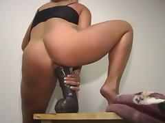 Ambitious solo model with hot ass smashing her pussy using giant toy