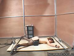 Tied up hussy Karrlie Dawn gets her snatch toyed in BDSM clip