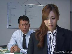 Kaori Maeda gets her cunt fingered and fucked by her horny boss