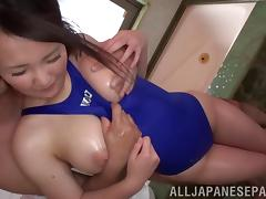 Angelic Asian dame with big oiled tits getting banged hardcore doggystyle in the shower
