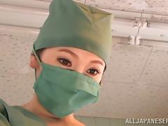 Japanese doctor gives a blowjob to her co-worker at her work place
