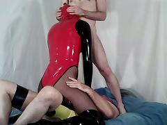 Latex Rubber Crossdresser Spit Roasted