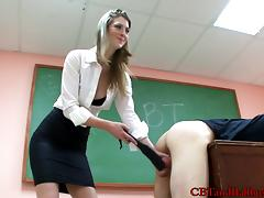 Sexy teacher spanks a dude's butt and pulls him by the balls