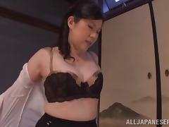 Busty Asian cougar with sexy bra having her pussy fingered before getting hammered doggystyle