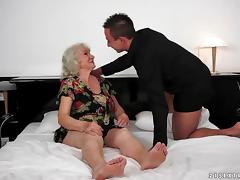 A BBW granny cums as a younger guy drills her vintage, hairy pussy