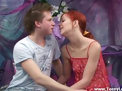 Compassionate redhead teen in socks getting screwed doggystyle in close up shoot