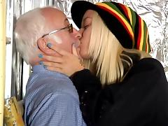Riding, Blonde, Blowjob, Cum in Mouth, Grandpa, Riding
