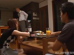 Natsumi Inagaw gets her hairy pussy fingered, fucked and filled with jizz